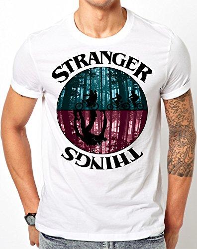 STRANGER THINGS FOUR FRIENDS AND THE DEMOGORGON MONSTER WHITE TSHIRT (Small)