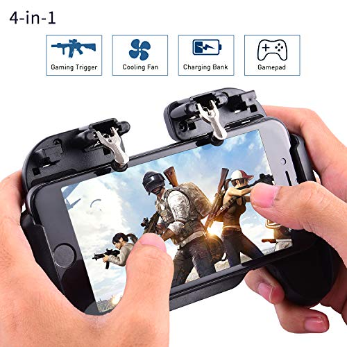 Mobile Game-Controller, Game Trigger Joystick Gamepad Grip Remote mit 4000mAh Power Bank Kühler Lüfter für Android iOS Handy 10,2-16,5 Zoll (5c-video-game-controller Iphone)