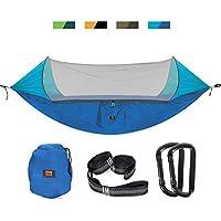 Hamaca de camping 2018 con mosquitera para 2 personas, hamaca de doble paracaídas, hamaca para dormir con red para exteriores, senderismo, mochila, viajes., azul