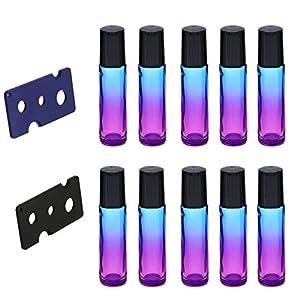ROSENICE 10ml Farbverlauf Roller Flaschen Glas Roll-on-Flaschen mit 2er Opener für ätherische Öle Parfüm-Flaschen 10er