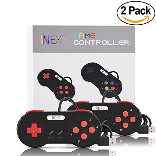 iNNEXT 2x Nueva Retro USB para Súper Nintendo SNES controlador Mando de juegos Controller para PC / Mac