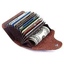 Kreditkartenetui, Echt Leder Visitenkartenetui Ausweistasche Kreditkartenhülle Geldklammer, Visitenkartenhalter für Herren und Damen, Schwarz
