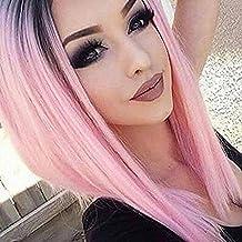 falamka omber negro a rosa longitud hombro corto recto mujeres partido Cosplay peluca para Daidy uso