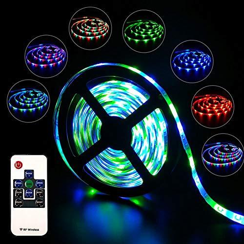 LED Streifen, LED Stripe 5M SMD 3528 RGB 300LEDs Farbwechsel Wasserdicht Regenwasser, Inklusive Netzteil & RF Fernbedienung und 10 Tasten & LED Lichtband, Deko, Weihnachten, Party