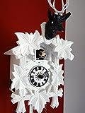 Design Kuckucksuhren moderne Quarzuhr Hirschkopf weiß schwarz Kristallaugen CLOCKVILLA HETTICH UHREN