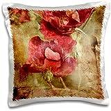 Anne Marie Baugh–Vintage–Diseño de Vintage de flores rojas sobre un fondo Grunge–funda de almohada