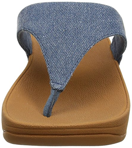 Fitflop Lulu Toe-Thong Sandals-Shimmer-Denim, Sandali Punta Aperta Donna Blue (Blue Shimmer-Denim)