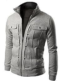 Juleya Hommes Casual Jacke Manteau - Hommes Automne Hiver Veste À Manches  Longues Manteau De Mode Blouson Zipper Outwear… 59ff03a43060