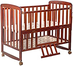 LuvLap C-50 Baby Wooden Cot (Cherry Red, Large)