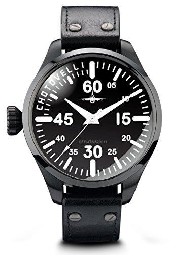 retro pilot watch men with black leather strap black analog dial, chotovelli 5200-2