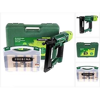 Prebena 2XR-J50 Luftdruck Druckluftnagler im Transportkoffer + J-BOX 8.000 Stauchkopfnägel / Brads