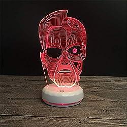 Lámpara 3D Geek Cambio de siete colores Usb Luz de noche Luz de dormir Niño Lámpara de mesa decorativa para dormir Regalo para niños