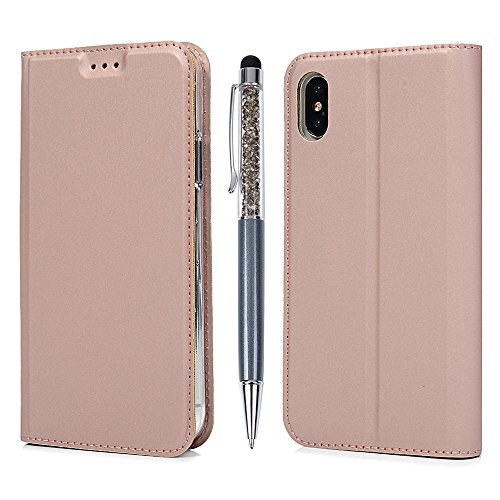 iPhone X Flip Cover, Custodia Libro Pelle PU e TPU Silicone con Funzione Supporto Chiusura Magnetica Invisibile Portafoglio Libretto Bumper Case per iPhone X, Farfalla Oro Rosa