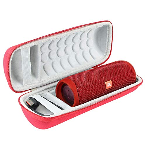 Khanka Dur Cas étui de Voyage Housse Porter pour JBL Flip 5 Enceinte Bluetooth Portable (Zip Rouge)