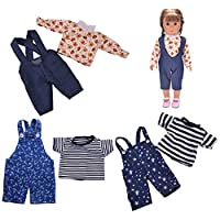 Coxeer 3 Sets Shirt Doll Clothes Decorative Doll Rompers Outfit Doll Clothing for 18 Dolls