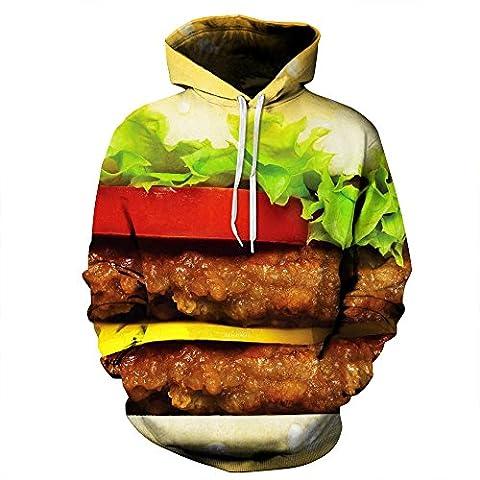 Hot verkaufen Männer/Frauen Hoodies mit Kappe lustig Drucken Rindfleisch Hamburger 3d-Hooded Sweatshirt Männer Marke Kleidung Pullover, JH0027, L
