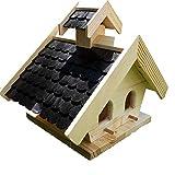 Naturholz-Schreinermeister Vogelhaus XL Schwarz Vogelhäuser Vogelfutterhaus Vogelhäuschen Holz Wetterschutz Putzklappe