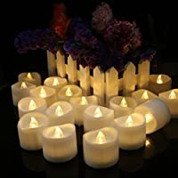 24 Pack LED Candles, Flickering Flameless Candles, Battery Operated Electric Fake Candles for Christmas, Birthday Decoration, Festivals, Warm White Light and Wavy Open