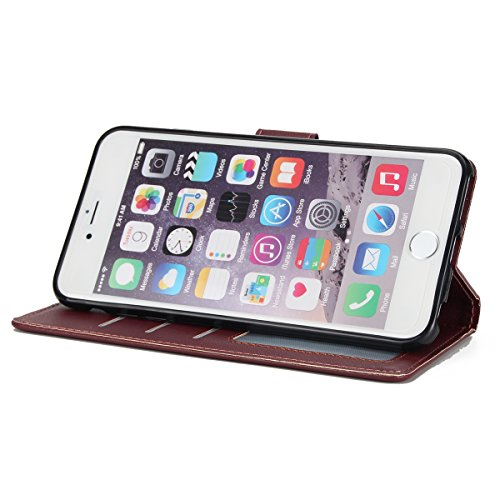iPhone 6S Plus Coque Dragonne Portefeuille PU Cuir Etui,iPhone 6S Plus Coque Ultra Fine,iPhone 6 Plus Etui Cuir Folio Housse PU Leather Case Wallet Flip Protective Cover Etui [PU Cuir et TPU Silicone  Vin Rouge