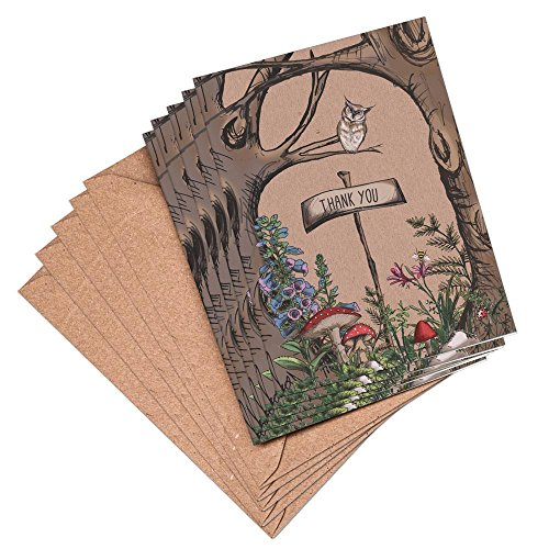 woodland-owl-rustic-thank-you-cards-and-envelopes-vintage-brown-recycled-10-5-or-1-x-a6-blank-cards-