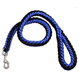 #4: High Quality Cord Nylon Dog Leash for Large Dogs with Extra Strong Brass Snap Hook By SRI (Black Blue)