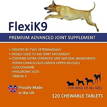 Supplément articulaire FlexiK9 pour Chiens Glucosamine et Green Shell (120 comprimés à croquer)