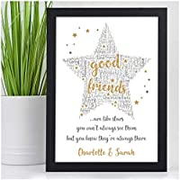 PERSONALISED Good Friends Are Like Stars Gifts for Best Friends BFF Special Friends Christmas Birthday Gifts for Her Presents - ANY NAMES - Black or White Framed A5 A4 Prints or 18mm Wooden Blocks