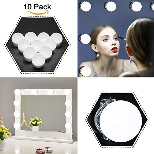 EECOO Hollywood-Stil LED Spiegelleuchte, 10 LED Schminktisch Leuchte Schminkleuchte Set für...