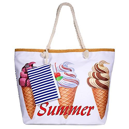 zedela Große Strandtasche mit Reissverschluss, Damen Canvas Schultertasche Tasche, Einkaufstasche für Reise, Kaufen, Ausflug usw (Eis)