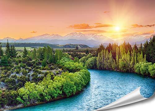"PMP 4life. XXL Poster \""Fluss in Neuseeland\""| 140x100cm | hochauflösendes Wand-Bild, Natur Poster extra groß, XL Fotoposter | Wand-deko Bild Landschaft Berge Wald"