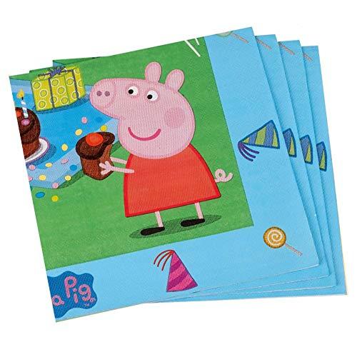 Peppa Pig Servietten | 20 Stück | Peppa Wutz Kinder Party Geburtstag (Pig Thema Peppa Geburtstag)