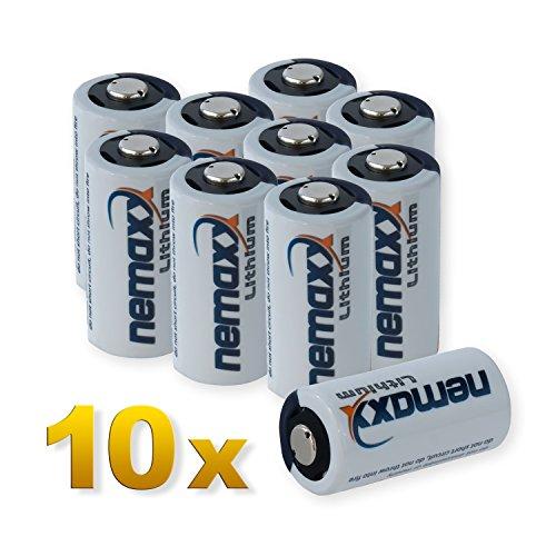 Nemaxx 3V Photo Lithium Batterie CR123A Photobatterie Fotobatterie mit 1700mAh im 10er Pack (5X Blister)