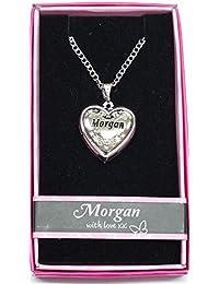 Morgan nombre personalizado amor Lockets/colgantes con imagen soporte presentado a la perfección por ley Effectz