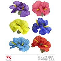 2 Hibiscus Flowers Hair Clips 6 Colors Ass. Accessory for Tropical Hawiian Fancy Dress
