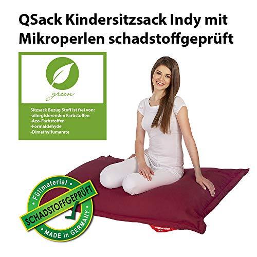 QSack Kindersitzsack Indy, mit Sitzsack Innenhülle, schadstoffgeprüfte EPS Toxproof Mikroperlen, 100x140 cm Sitzsack für Kinder, (rot)