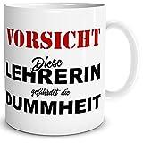TRIOSK Tasse Vorsicht Diese Lehrerin, Abschluss Geschenk Schulabschluss Danke Abschied Schule Spruch Lustig, Weiß Bunt, 300 ml