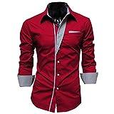 THINKBEST Herren Jungen Plus Size Gestreift Muster Langarm Freizeit Bluse Hemd Slim Fit Shirts Top (Rot,L)