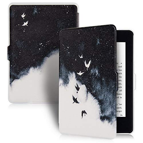 DATOUDATOU PU-Überzug Ledertasche für Kindle Paperwhite 5 Generation schützende E-Reader Fall 6 Zoll Fliegender Vogel