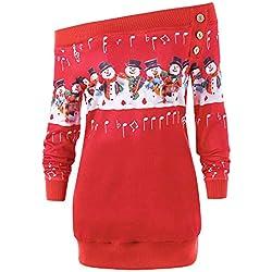 ❤️ Sudadera para Mujer Feliz Navidad, más el tamaño del suéter Deer Elk Camiseta Estampada para el Cuello Oblicuo Fuera del Hombro Abrigo Absolute