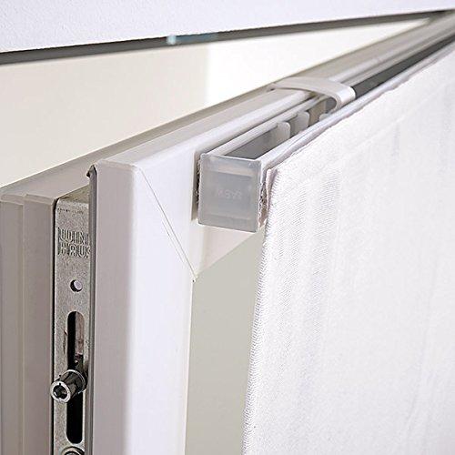 Fenster Raffrollo weiss / tageslicht Raffgardine Faltvorhang Montage ohne Bohren inkl Klemmträger viele Größen 40 / 45 / 50 / 60 / 65 / 70 / 75 / 80 / 90 / 100 / 110 / 120 x 130 oder 150 oder 220 cm (100×130 (B x H in cm)) - 4