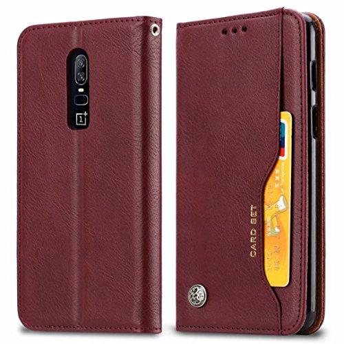 JDDRCASE Handy Zubehör Hüllen, OnePlus 6 Hülle, Classic Premium PU Leder Flip Hülle mit Kartensteckplatz für OnePlus 6 (Farbe : Wine red) (Alcatel Lg Htc Handy)