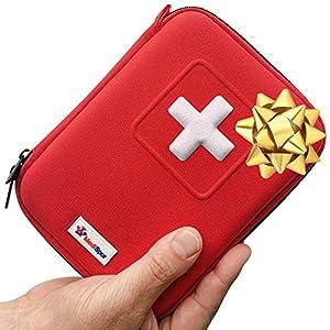 MediSpor Erste Hilfe Set – für Notfälle in der Familie – Ideal für Zuhause Auto Reisen Camping und Outdoor Aktivitäten – 100Stück in halbharte Tasche