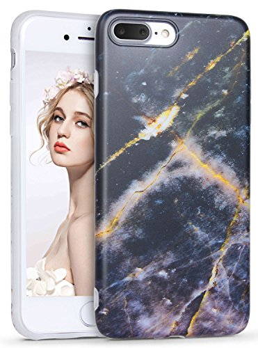 iPhone 8 Plus Marble Case, iPhone 7 Plus Marble Case, Imikoko Matt Soft Silicone Phone Case Stone Marble Painting Slim TPU Bumper Phone Case Flexible Protective Back Back Marble Lines Soft Back Cover  Muster 7