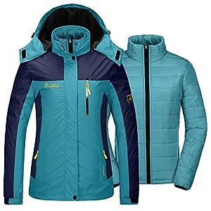 GEMYSE Damen 3 in 1 wasserdichte Skijacke Funktionsjacke Warm Winterjacke Winddichte Outdoor Wanderjacke Doppeljacke Regenjacke