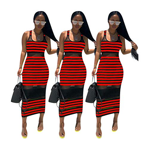 QSAWAL& Sexy Women Stripes Patchwork Scoop Neck Sleeveless Bodycon Club Party Long Dress Red S