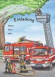 Feuerwehr Einladungen Kindergeburtstag Geburtstag 12er-Set NEU