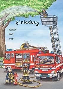 Feuerwehr Einladungen Kindergeburtstag Geburtstag 12er-Set