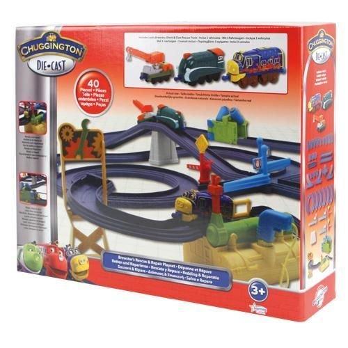 Chuggington Die Cast Kinder Eisenbahn Set #LC54544 mit 2 Loks 1 Kran Schienen
