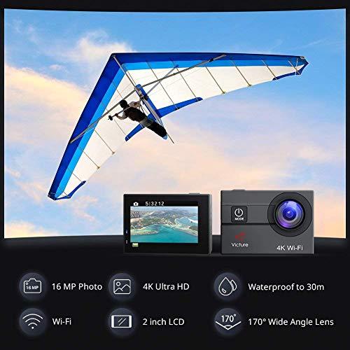 Victure Cámara de acción 4 K WiFi 16 MP 98 pies Impermeable cámara submarina 170° Gran Angular 2 Pulgadas Pantalla Deportes CAM con 2 baterías Recargables 1050 mAh y Accesorios de Montaje