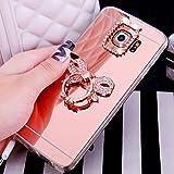 Galaxy S5 Hülle,Galaxy S5 Neo Hülle,ikasus [Ring Ständer] Glänzend Glitzer Strass Diamant Überzug Spiegel TPU Silikon Handy Hülle Tasche Handyhülle Schutzhülle für Galaxy S5,Rose Gold Bowknot #1